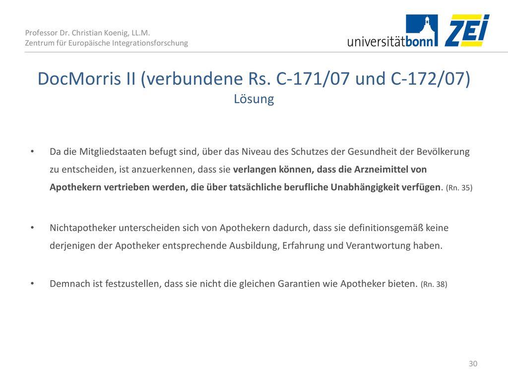 DocMorris II (verbundene Rs. C‑171/07 und C‑172/07) Lösung