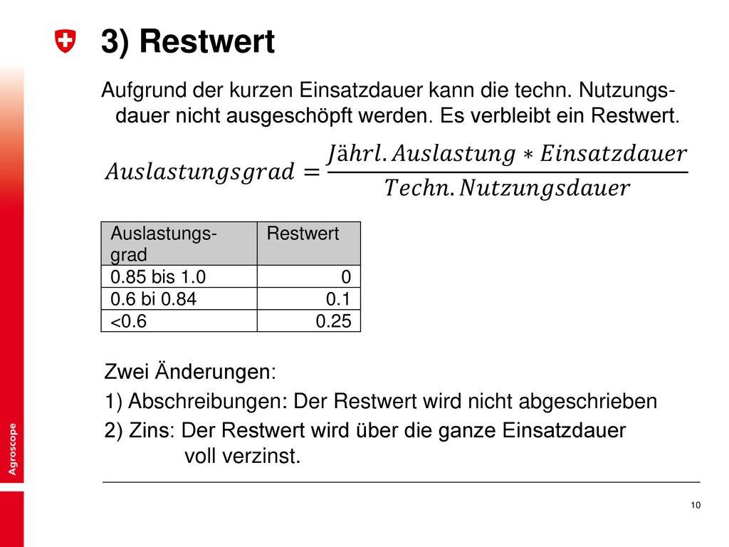 3) Restwert Aufgrund der kurzen Einsatzdauer kann die techn. Nutzungs-dauer nicht ausgeschöpft werden. Es verbleibt ein Restwert.
