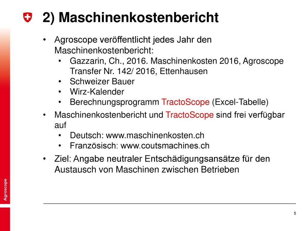 2) Maschinenkostenbericht