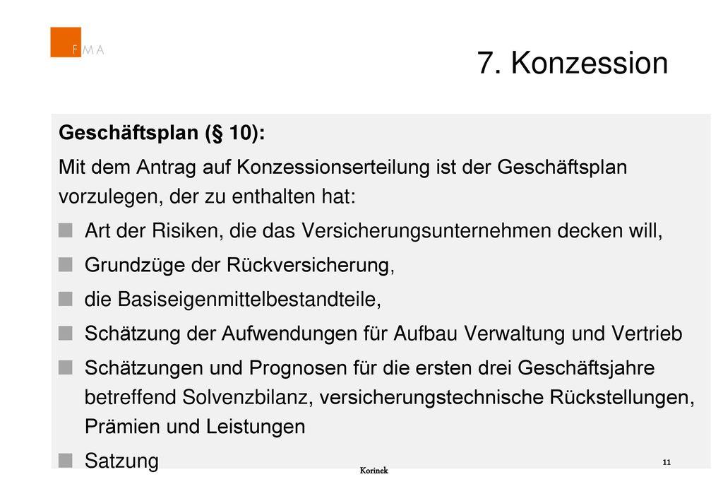 7. Konzession Geschäftsplan (§ 10):