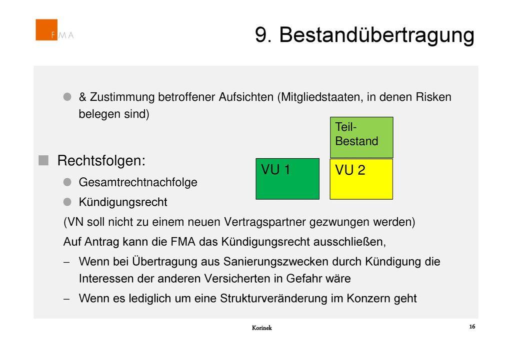 9. Bestandübertragung Rechtsfolgen: VU 1 VU 2