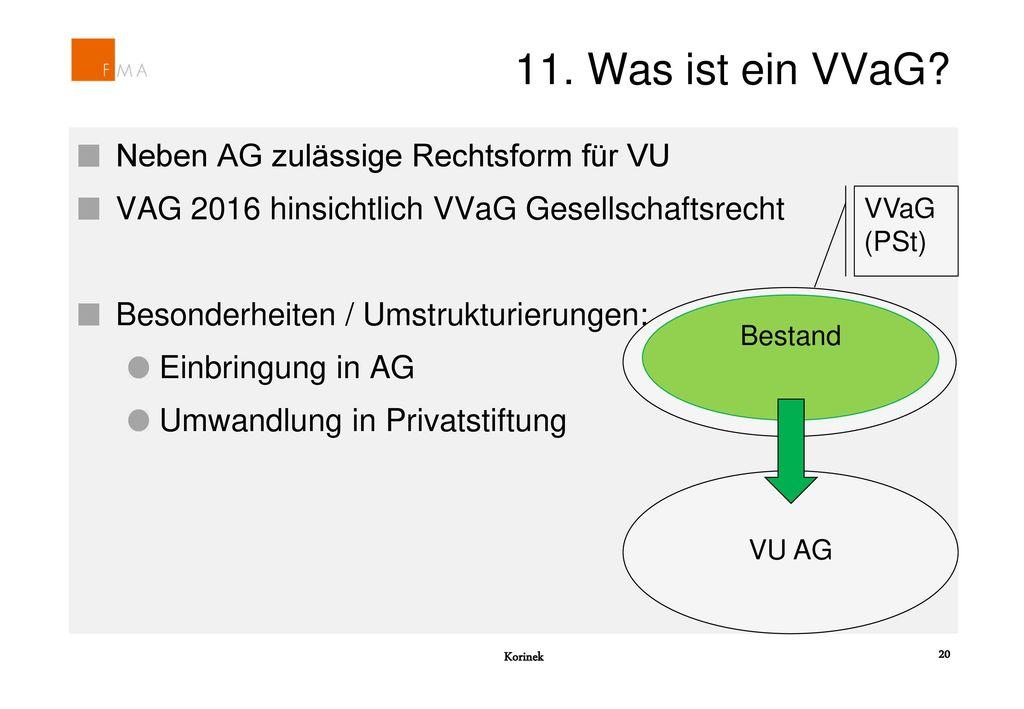 11. Was ist ein VVaG Neben AG zulässige Rechtsform für VU