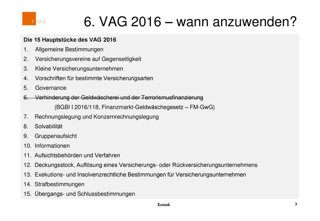 6. VAG 2016 – wann anzuwenden Die 15 Hauptstücke des VAG 2016