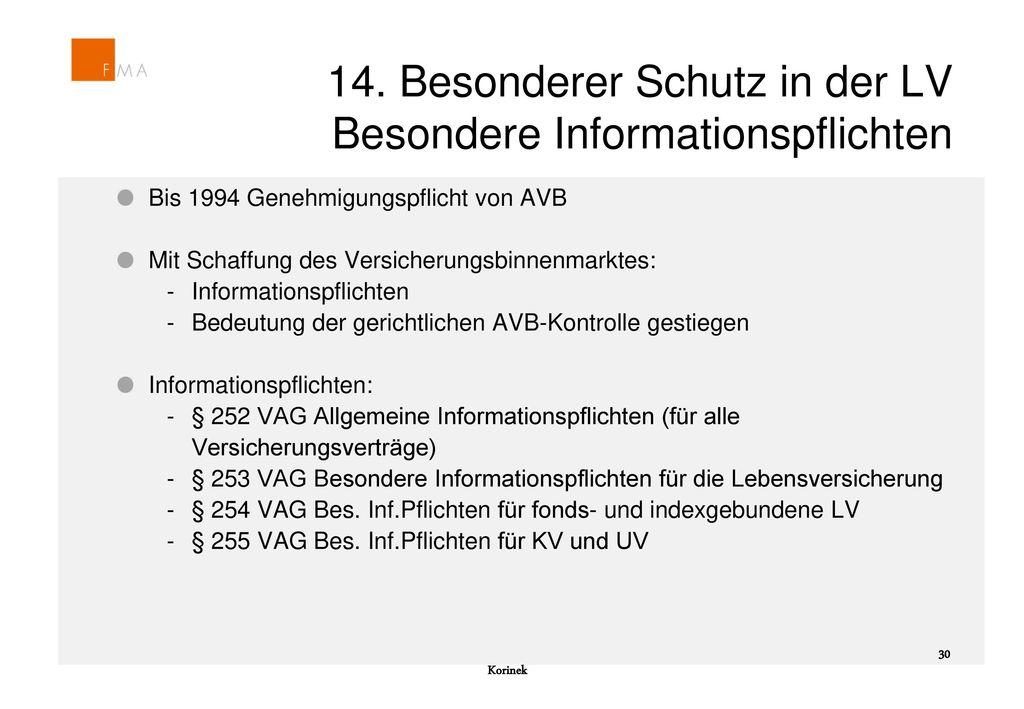 14. Besonderer Schutz in der LV Besondere Informationspflichten