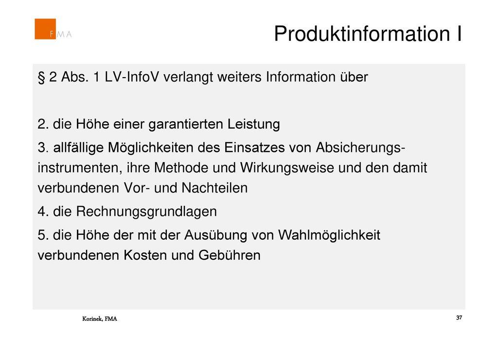Produktinformation I