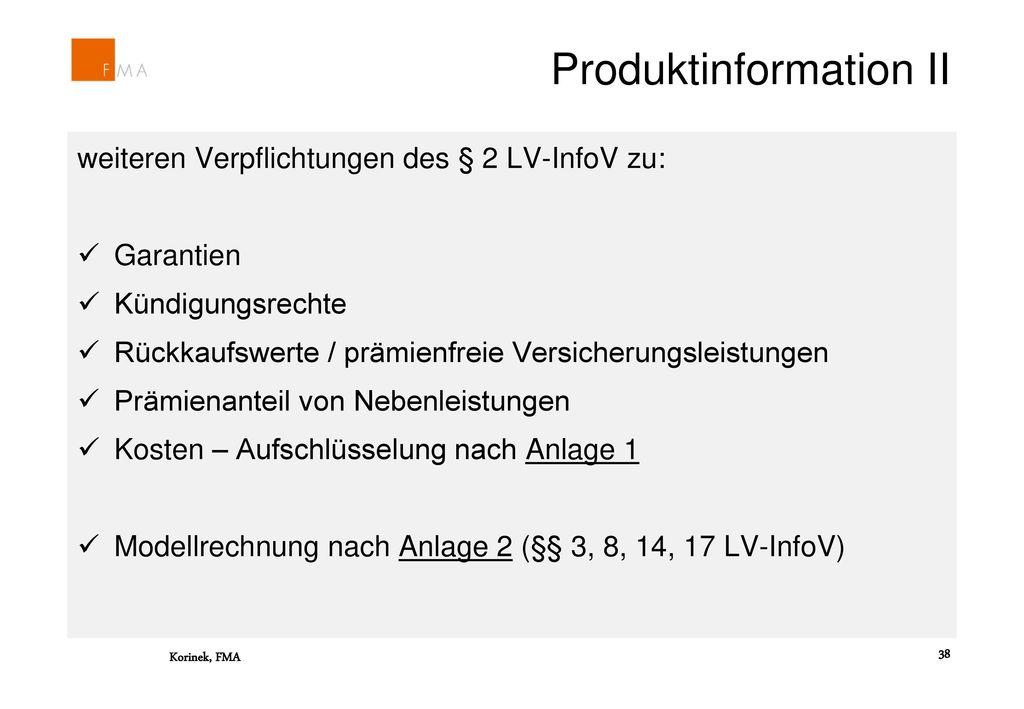 Produktinformation II
