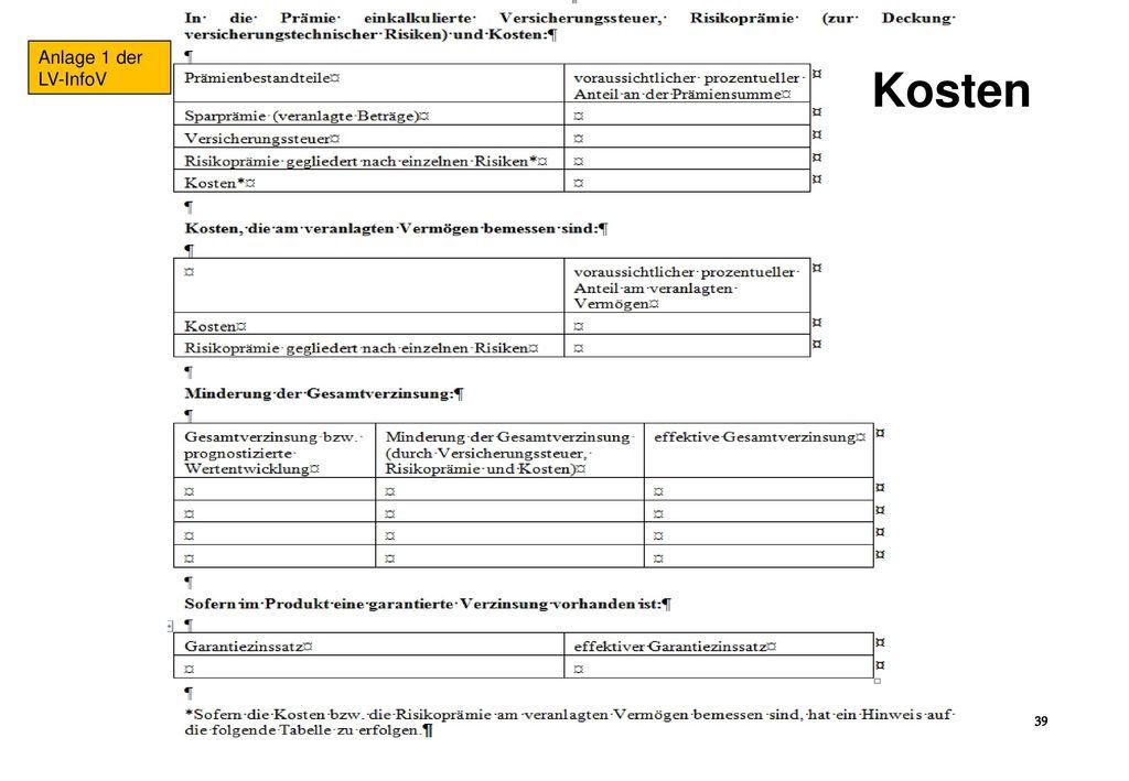 Anlage 1 der LV-InfoV Kosten 26.4.2016