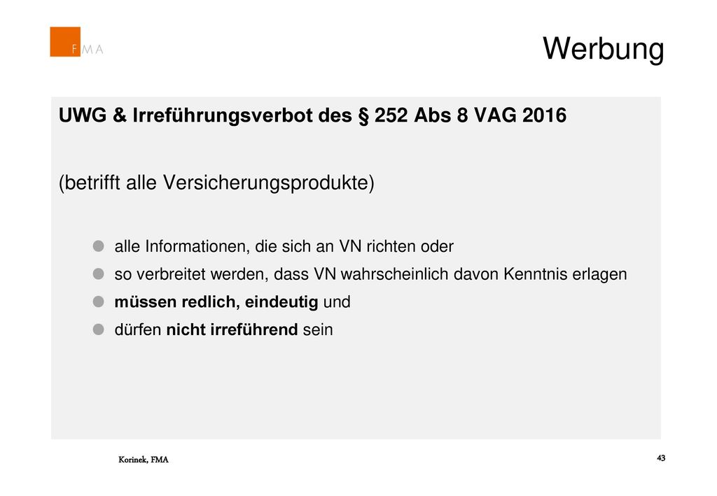 Werbung UWG & Irreführungsverbot des § 252 Abs 8 VAG 2016