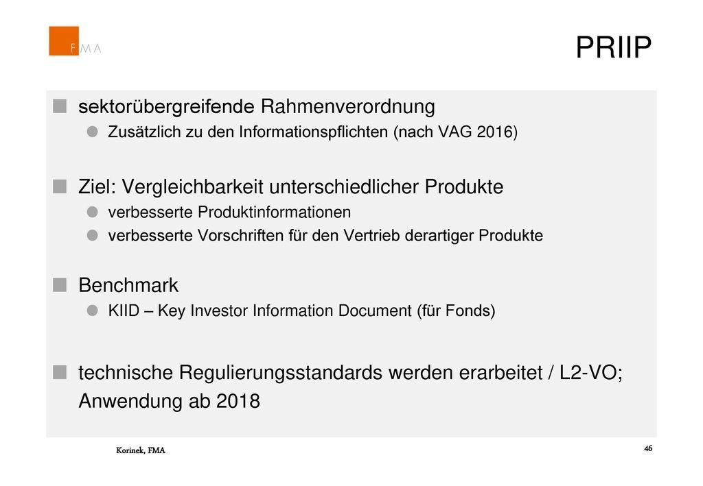 PRIIP sektorübergreifende Rahmenverordnung