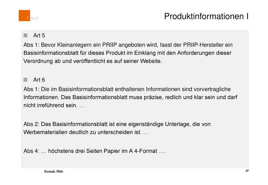 Produktinformationen I