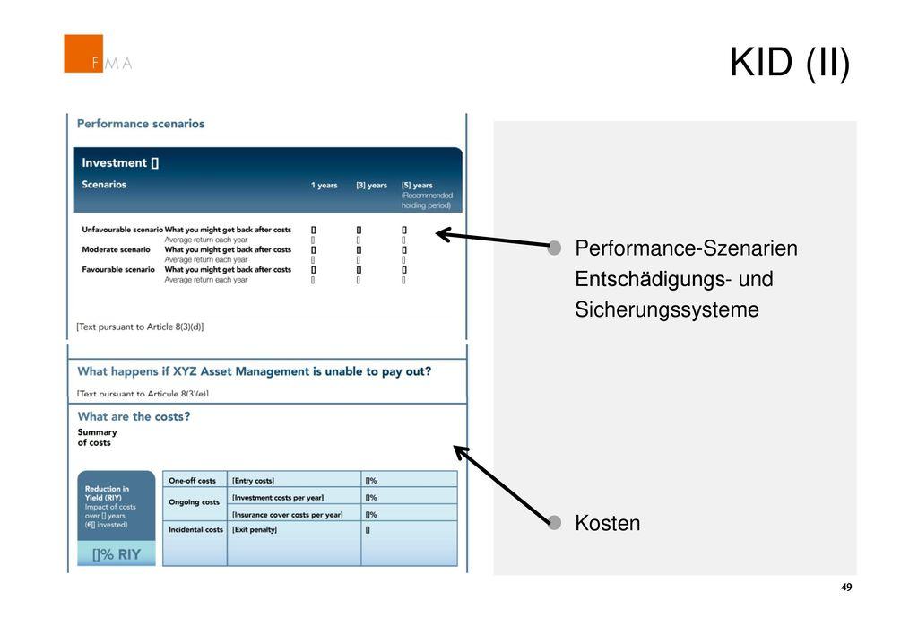 KID (II) Performance-Szenarien Entschädigungs- und Sicherungssysteme