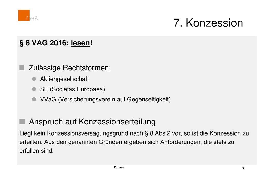 7. Konzession Anspruch auf Konzessionserteilung § 8 VAG 2016: lesen!