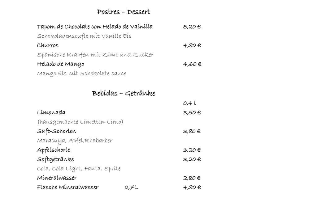 Postres – Dessert Bebidas – Getränke