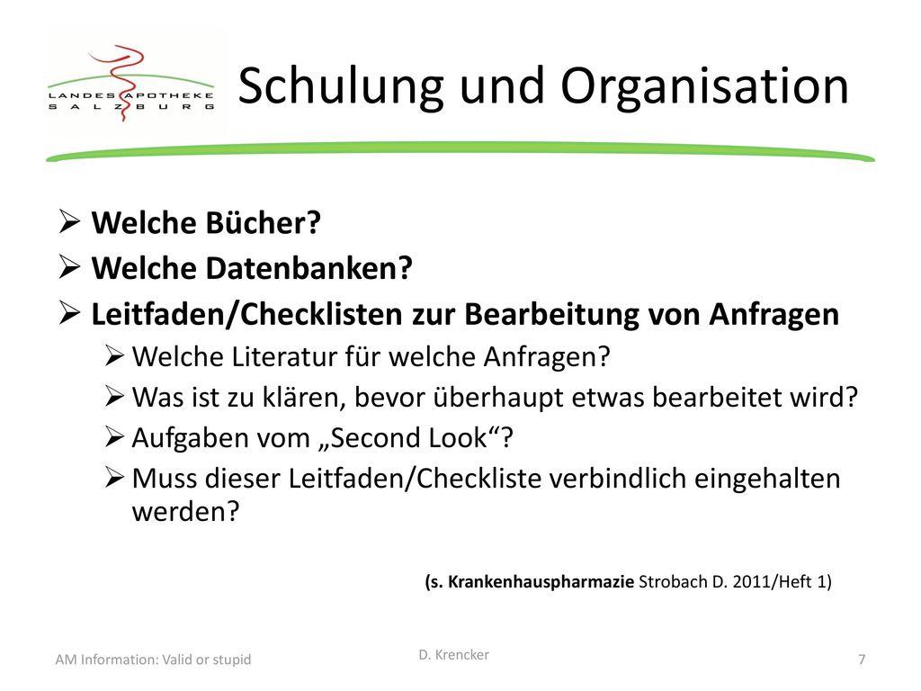Schulung und Organisation