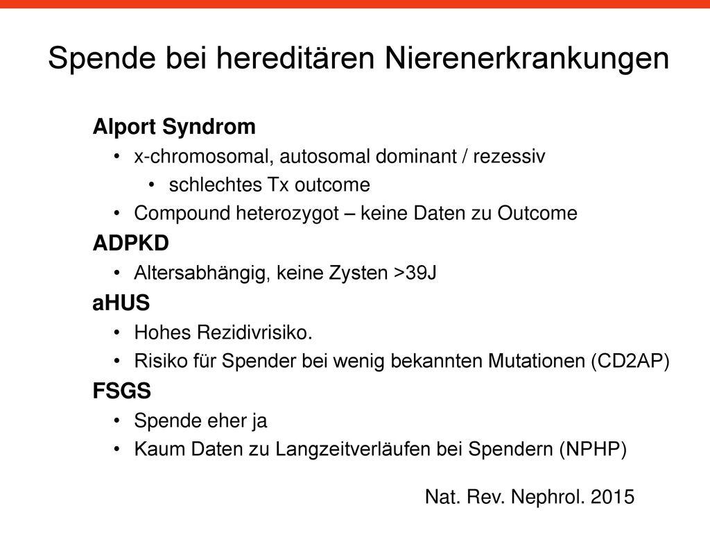 Spende bei hereditären Nierenerkrankungen