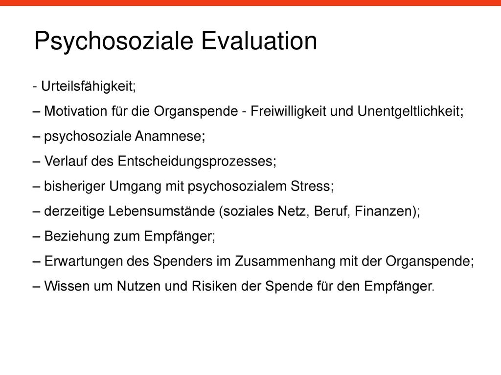 Psychosoziale Evaluation