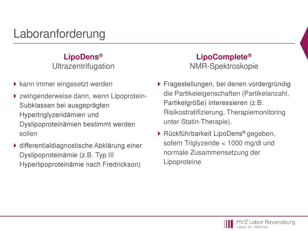 Laboranforderung LipoDens Ultrazentrifugation LipoComplete
