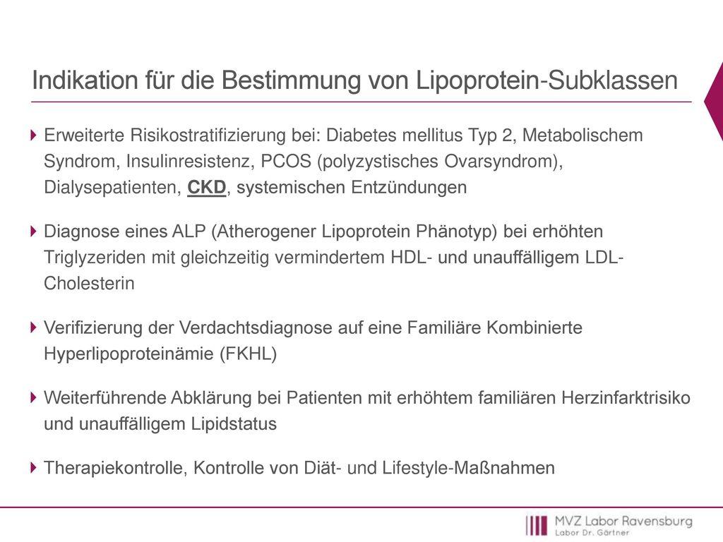 Indikation für die Bestimmung von Lipoprotein-Subklassen