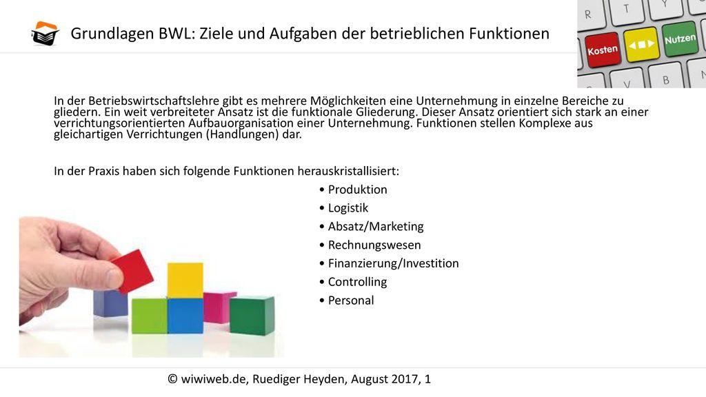 Grundlagen BWL: Ziele und Aufgaben der betrieblichen Funktionen