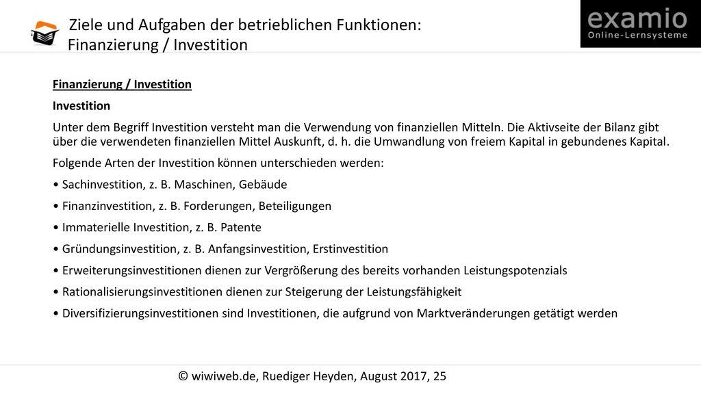 Ziele und Aufgaben der betrieblichen Funktionen: Finanzierung / Investition