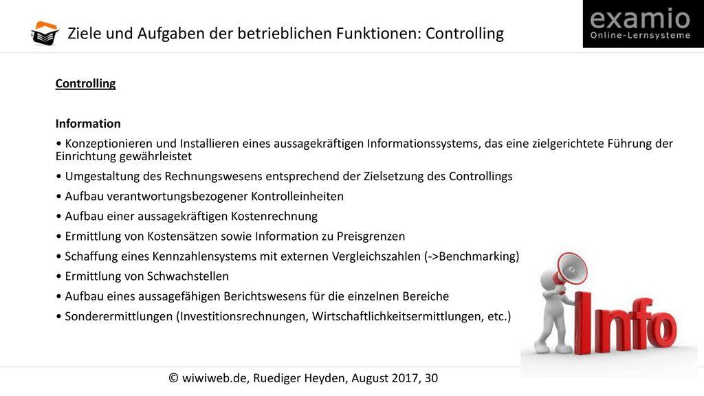 Ziele und Aufgaben der betrieblichen Funktionen: Controlling