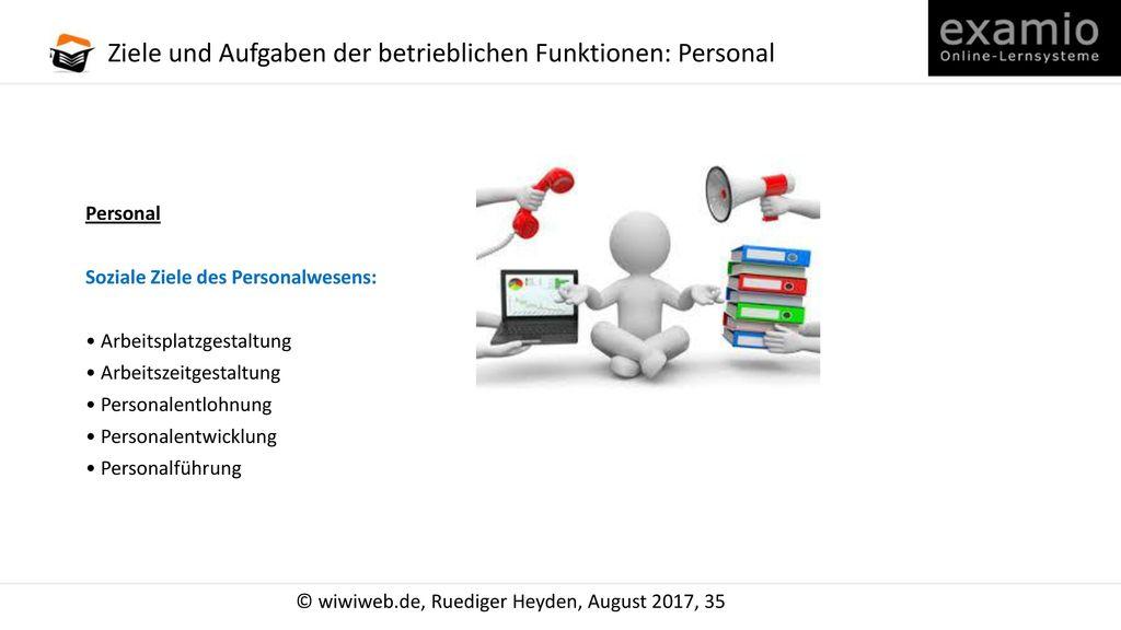 Ziele und Aufgaben der betrieblichen Funktionen: Personal