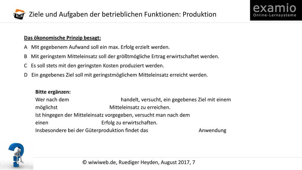 Ziele und Aufgaben der betrieblichen Funktionen: Produktion