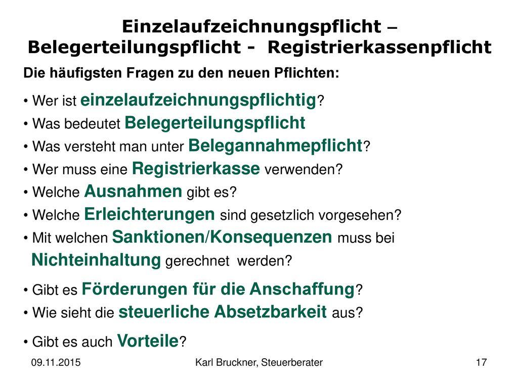 Karl Bruckner, Steuerberater