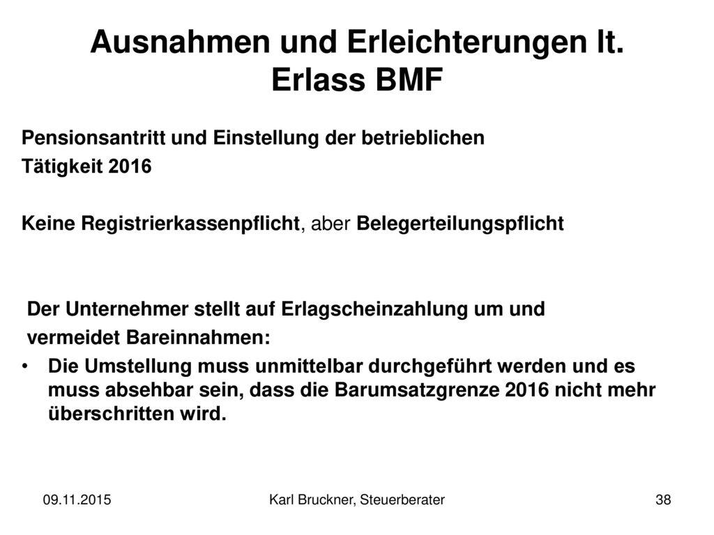 Ausnahmen und Erleichterungen lt. Erlass BMF