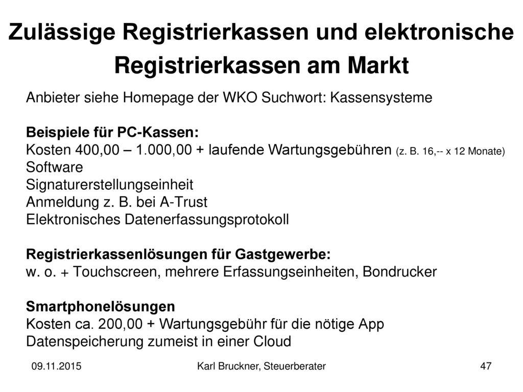 Zulässige Registrierkassen und elektronische Registrierkassen am Markt