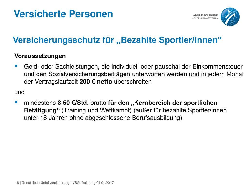 """Versicherte Personen Versicherungsschutz für """"Bezahlte Sportler/innen"""