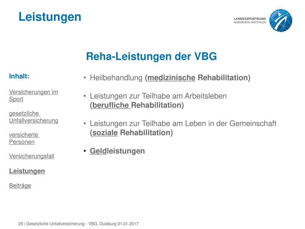Leistungen Reha-Leistungen der VBG