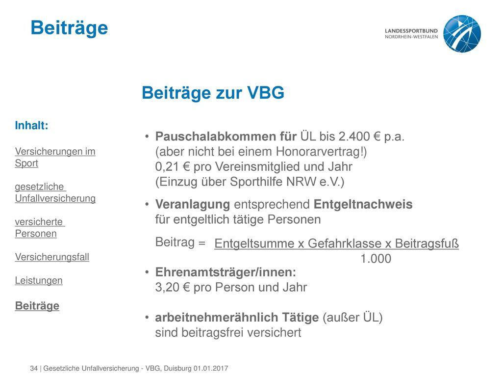 Beiträge Beiträge zur VBG