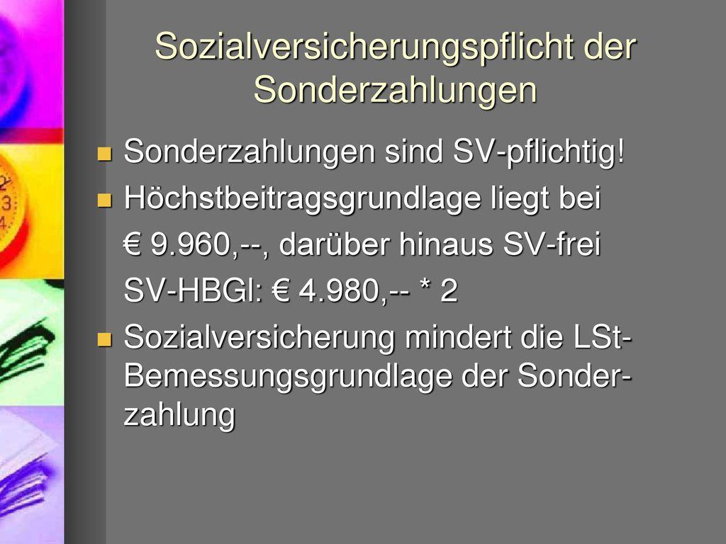Sozialversicherungspflicht der Sonderzahlungen