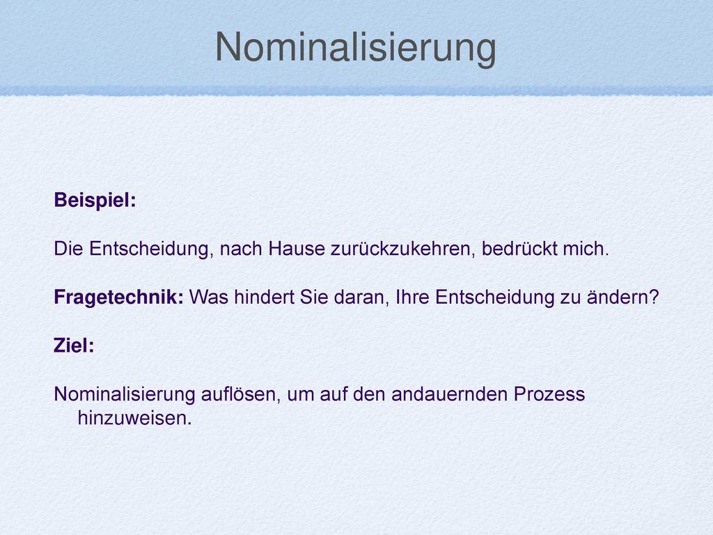 Nominalisierung Beispiel: