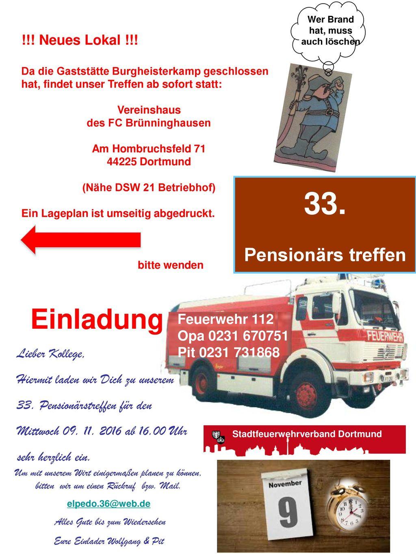 33. Einladung Pensionärs treffen Burgheisterkamp 25 44369 Dortmund