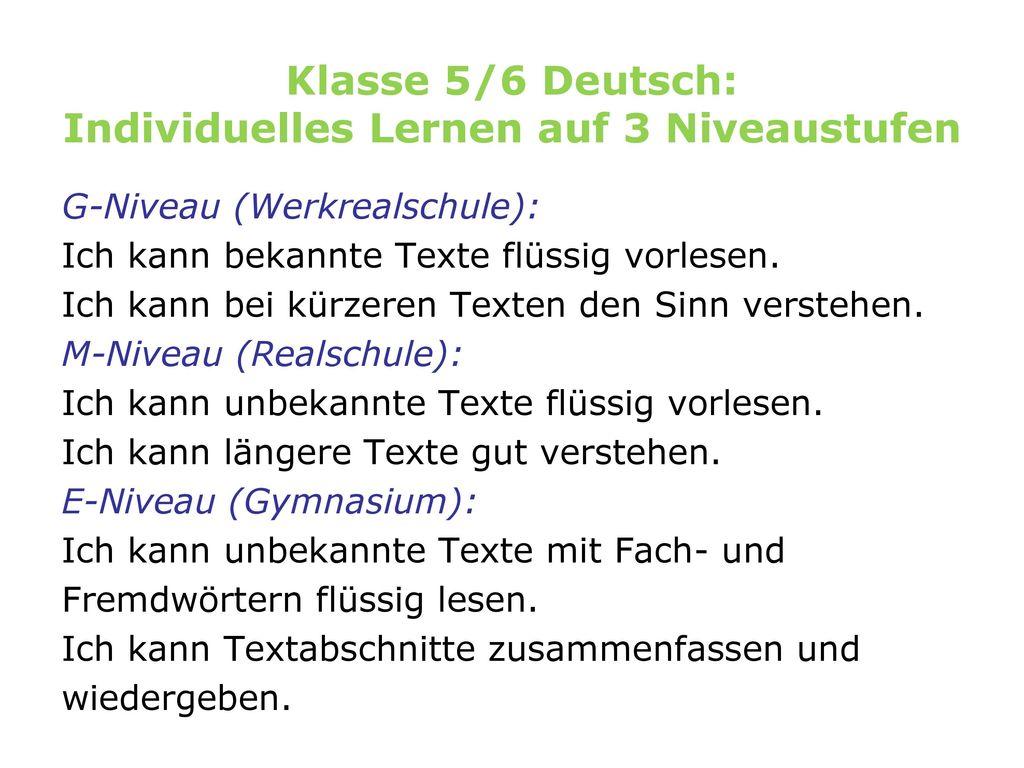 Klasse 5/6 Deutsch: Individuelles Lernen auf 3 Niveaustufen