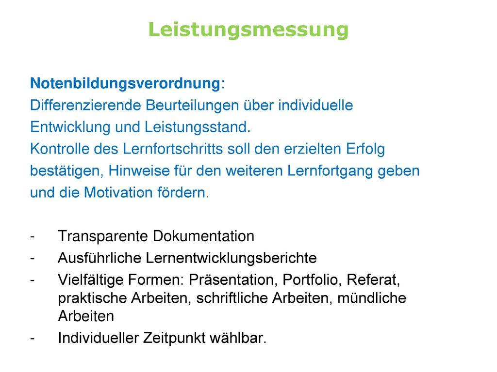 Leistungsmessung Notenbildungsverordnung: