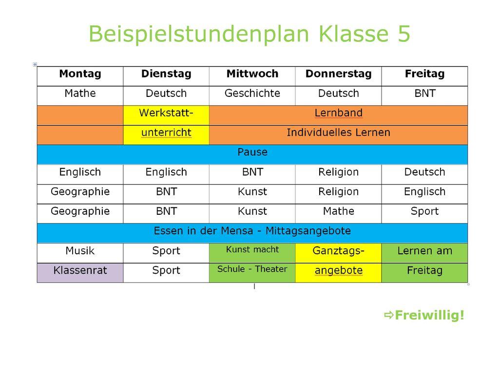Beispielstundenplan Klasse 5
