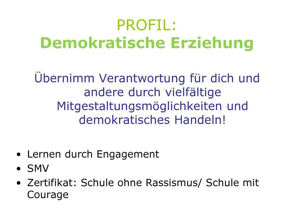 PROFIL: Demokratische Erziehung