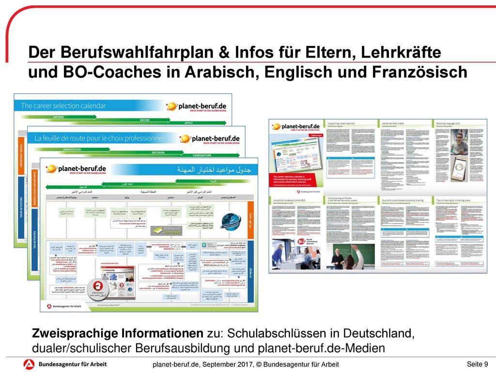 Der Berufswahlfahrplan & Infos für Eltern, Lehrkräfte und BO-Coaches in Arabisch, Englisch und Französisch