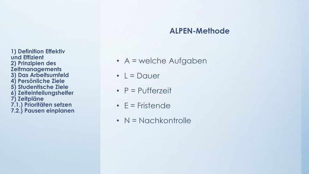 ALPEN-Methode A = welche Aufgaben L = Dauer P = Pufferzeit