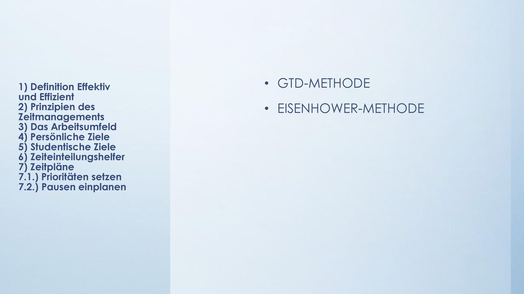 GTD-METHODE EISENHOWER-METHODE