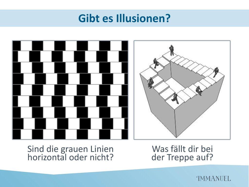 Gibt es Illusionen Sind die grauen Linien horizontal oder nicht