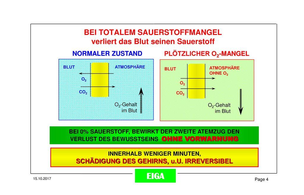 BEI TOTALEM SAUERSTOFFMANGEL verliert das Blut seinen Sauerstoff