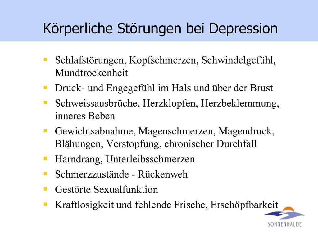Körperliche Störungen bei Depression