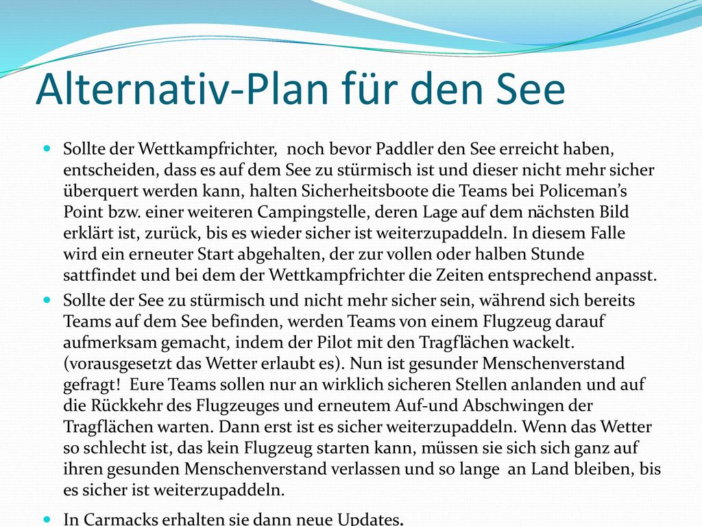 Alternativ-Plan für den See