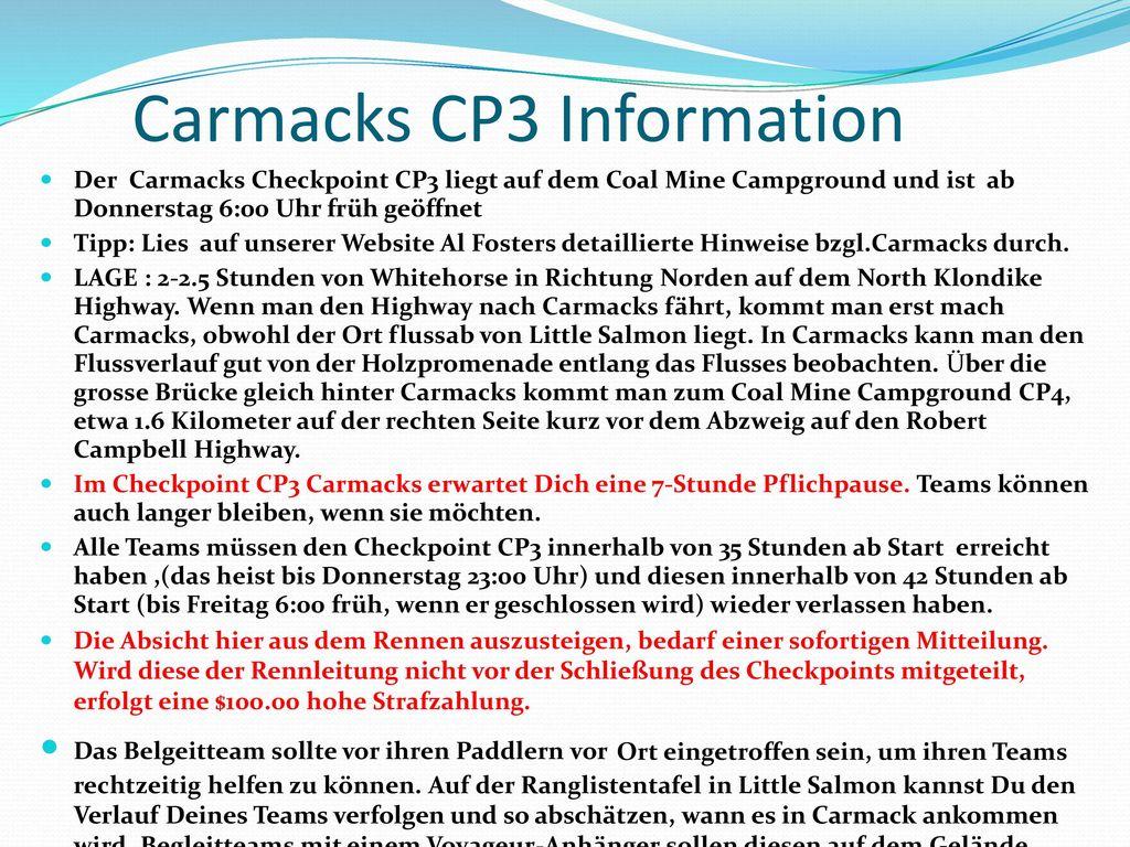 Carmacks CP3 Information