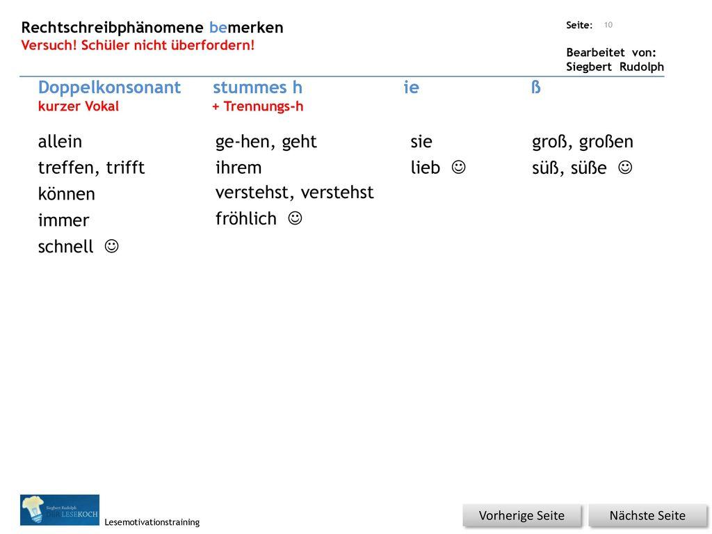 Doppelkonsonant stummes h ie ß