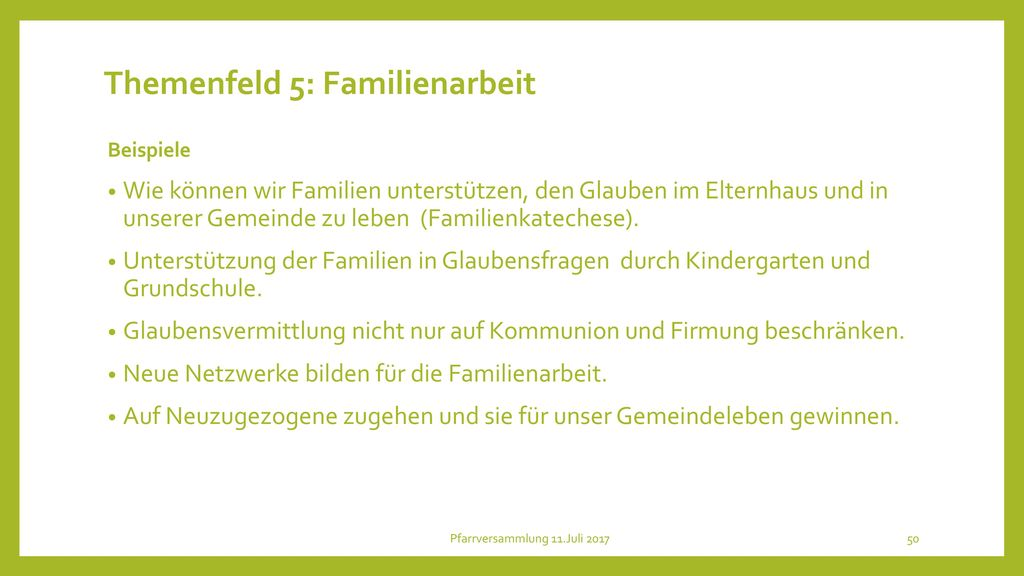 Themenfeld 5: Familienarbeit
